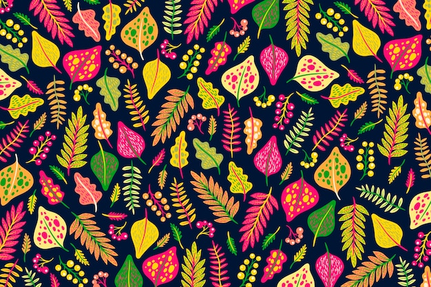 Fondo colorido de flores y hojas