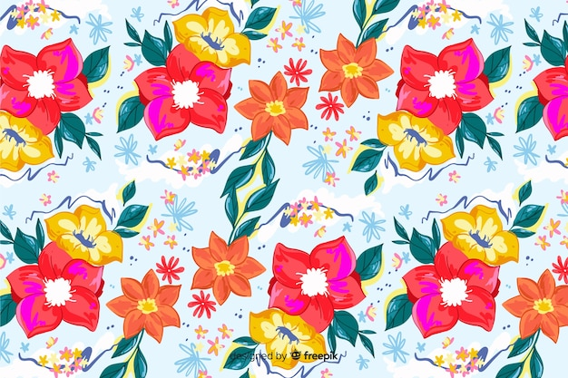 Fondo colorido de flores pintadas a mano