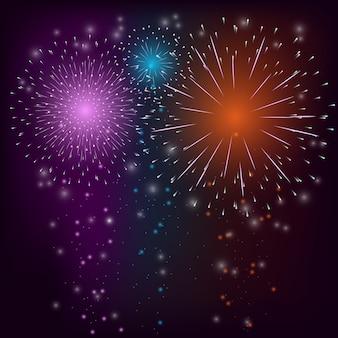 Fondo colorido de fuegos artificiales