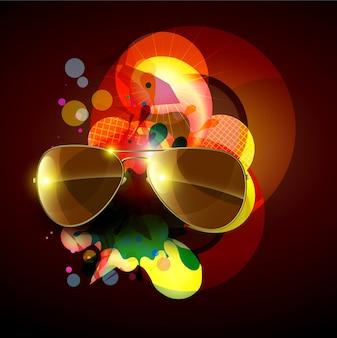 Fondo colorido con gafas de sol