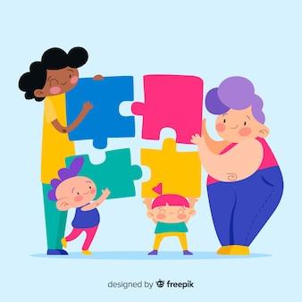 Fondo colorido gente conectando piezas de puzzle