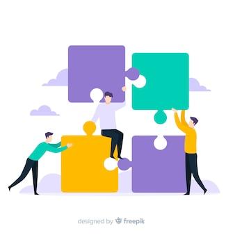 Fondo colorido gente haciendo puzzle juntos