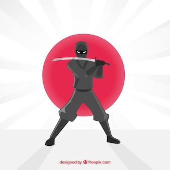Fondo colorido de guerrero ninja con diseño plano