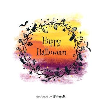 Fondo colorido de halloween de acuarela