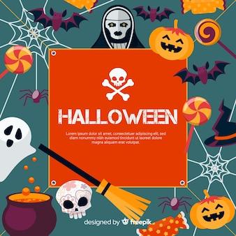 Fondo colorido de halloween con diseño plano