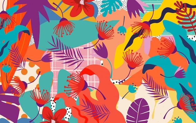 Fondo colorido de hojas y flores tropicales