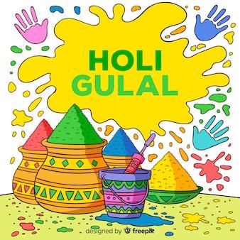 Fondo colorido de holi gulal