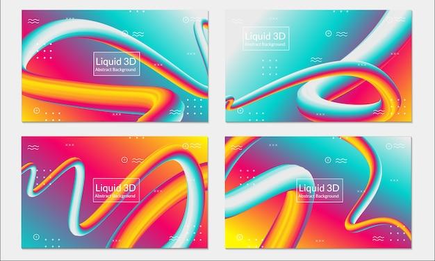 Fondo colorido líquido fluido conjunto abstracto