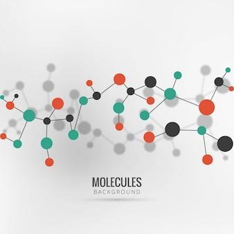 Fondo colorido de las moléculas