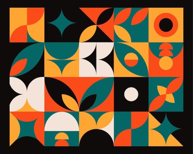 Fondo colorido mural geométrico abstracto en estilo bauhaus.