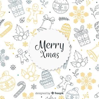 Fondo colorido de navidad dibujado a mano