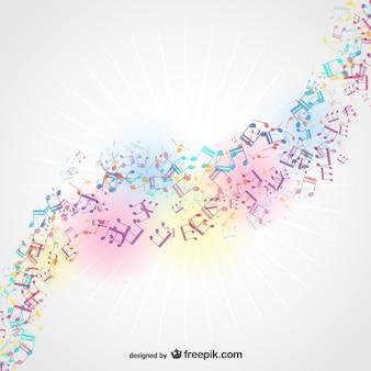 Fondo colorido con notas musicales