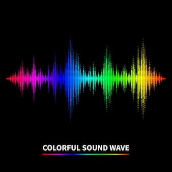 Fondo colorido de la onda de sonido. ecualizador, swing y música. ilustración vectorial