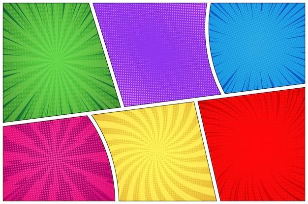 Fondo colorido de la página de cómic