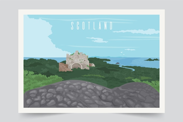 Fondo colorido del paisaje de escocia