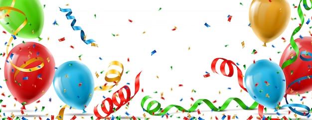 Fondo colorido partido con globos y confeti