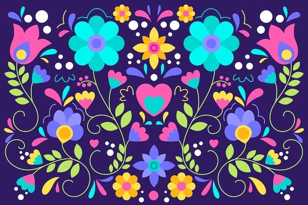 Fondo colorido patrón mexicano en diseño plano
