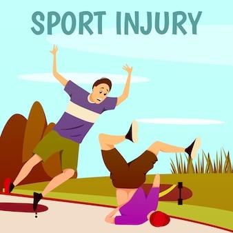 Fondo colorido plano de lesión deportiva. dos patinadores traumatizados