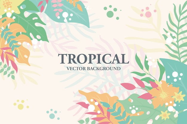 Fondo colorido de plantas, hojas y flores tropicales. marco floral horizontal con espacio para texto