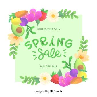 Fondo colorido de rebajas de primavera
