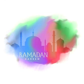 Fondo colorido para el saludo de ramadan kareem