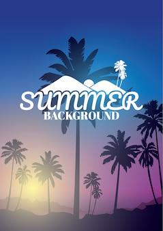 Fondo colorido del verano, fondo con la silueta de palmeras y salida del sol tropical.