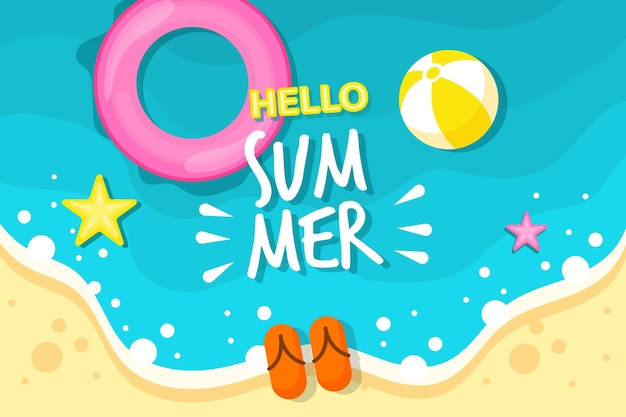 Fondo colorido verano con playa y estrellas