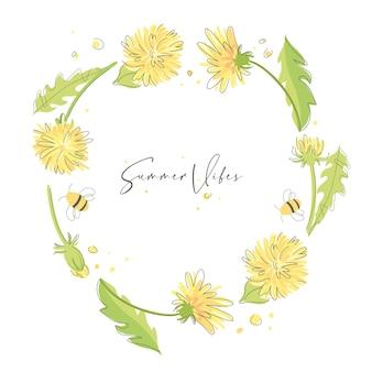 Fondo colorido de verano vibraciones de verano linda corona de dientes de león amarillos