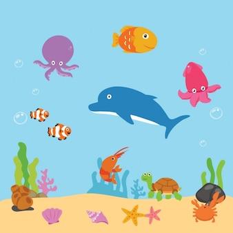 Fondo colorido de vida marina