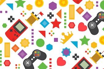 Fondo colorido de videojuego en diseño plano