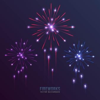 Fondo de coloridos fuegos artificiales