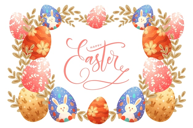 Fondo con coloridos huevos de pascua y letras