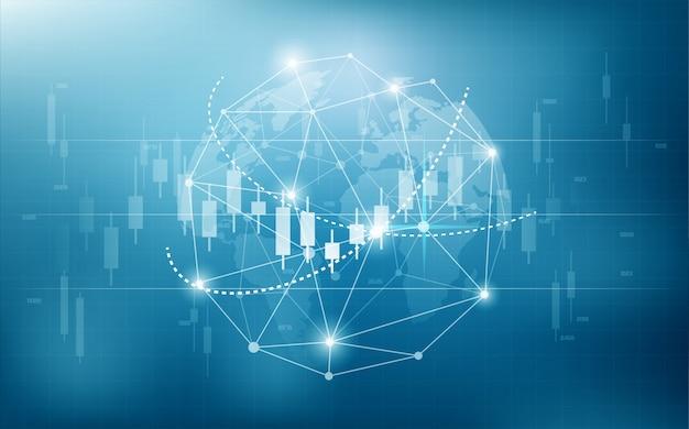 Fondo comercial de bolsa digital con ilustraciones de globo digital y gráficos de barras