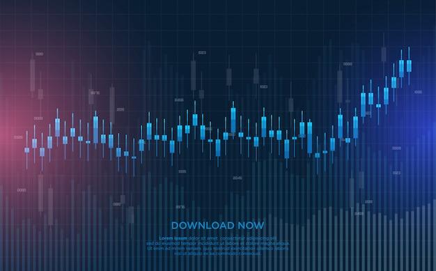Fondo comercial con ilustraciones de gráfico de barras azul.