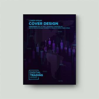 Fondo de comercio de la cubierta. con una ilustración de un gráfico de vela rosa azul transparente.