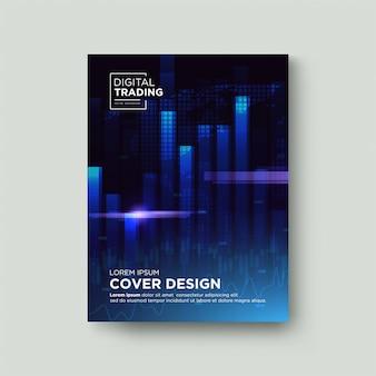 Fondo de comercio de la cubierta. con ilustraciones de gráficos de neón azul en el mercado de valores sobre un fondo azul oscuro.