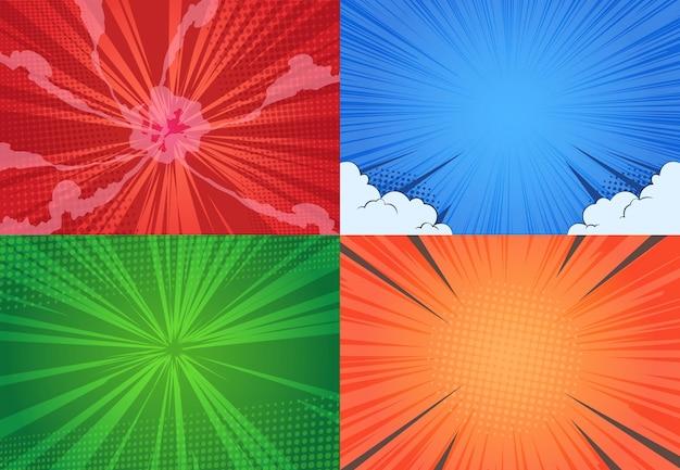 Fondo de cómic diseño de punto de semitono de arte pop de dibujos animados, efecto de cómic de explosión de línea, vs arte gráfico retro.