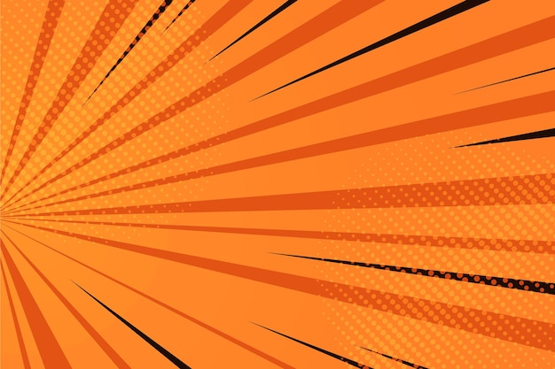 Fondo de cómic naranja de diseño plano
