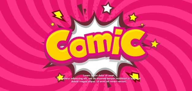 Fondo de cómic pop art rosa con nube y estrella