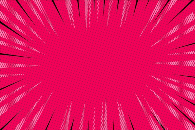 Fondo de cómic rosa diseño plano