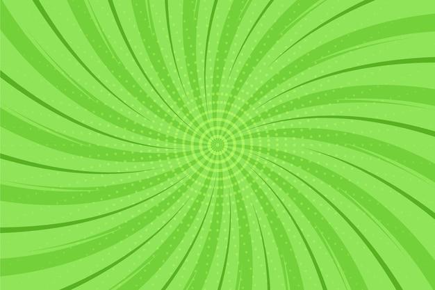 Fondo de cómic verde de diseño plano