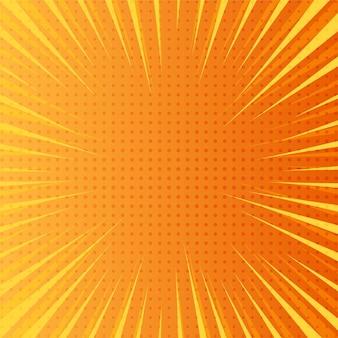 Fondo cómico amarillo brillante con rayos explosivos