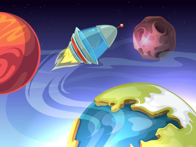 Fondo cómico de dibujos animados de espacio con nave espacial y planetas