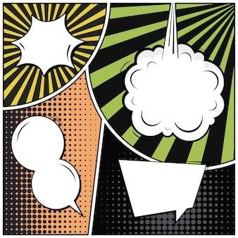 Fondo cómico del espacio en blanco del estilo del arte pop.