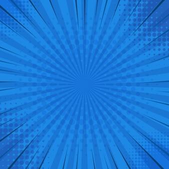 Fondo cómico retro rayado azul abstracto con ángulos de semitono. personajes de cómic de dibujos animados. ilustración.
