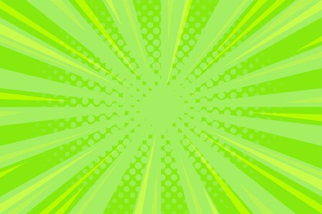 Fondo cómico verde con líneas de zoom y medios tonos