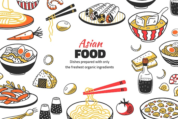 Fondo de comida asiática doodle