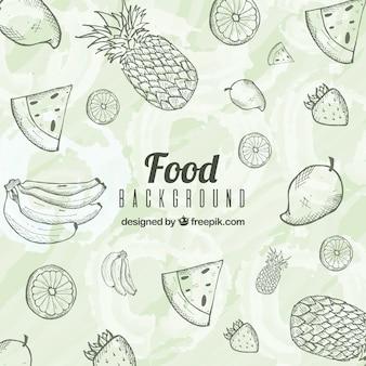 Fondo de comida deliciosa con estilo de dibujo a mano