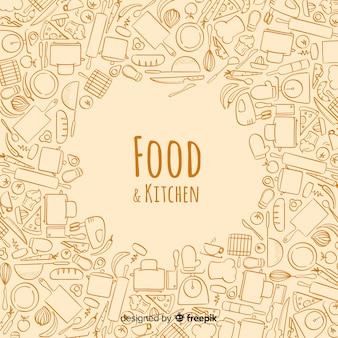 Fondo comida dibujada a mano