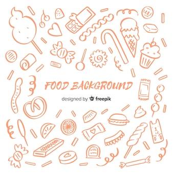 Fondo de comida dibujada a mano